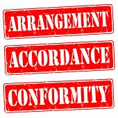 Arrangement,accordance,conformity