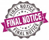 Final Notice Violet Grunge Retro Vintage Isolated Seal
