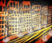 Traffic In The City Orange And Black Digital Illustration