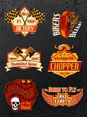 foto of chopper  - Motorcycle bike badges set with piston helmet and wheel vector illustration - JPG