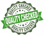 Quality Checked Green Grunge Retro Vintage Isolated Seal