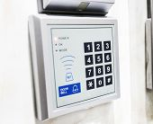 keypad on security door