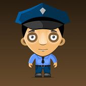 Cartoon Police Officer on Dark Background. Vector