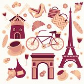 stock photo of croissant  - Paris symbols collection of eiffel tower french croissant coffee and culture isolated vector illustration - JPG