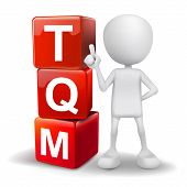 3D Illustration Of Person With Word Tqm Cubes