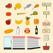 stock photo of flat-bread  - Collection of flat supermarket food items of fresh and natural vegetables fruits meat and dairy products isolated vector illustration - JPG