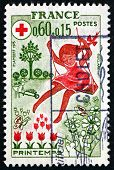 Postage Stamp France 1975 Spring, Girl On Swing