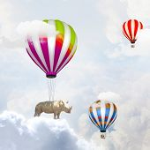 Rhino flying high in sky on colorful aerostat