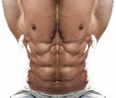 stock photo of abdominal muscle  - Abdominal Muscle Close Up On White Background - JPG