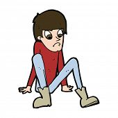 cartoon boy sitting on floor