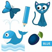 stock photo of blue things  - Educational set of blue colored things  - JPG