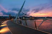 Sunset Over Peace Bridge Of Derry, Northern Ireland