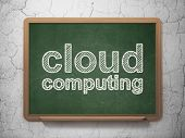 Cloud computing concept: Cloud Computing on chalkboard background