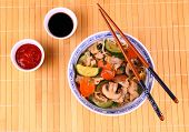 Asian Noodle With Chicken Meat, Vegetables, Sauces
