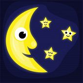 Cartoon Moon And Stars