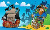 Pirate on coast theme 2 - eps10 vector illustration.