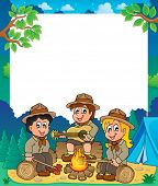 Children scouts thematic frame 1 - eps10 vector illustration.