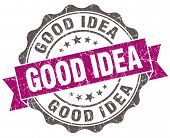 Good Idea Violet Grunge Retro Vintage Isolated Seal