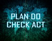 stock photo of plan-do-check-act  - Plan Do Check Act text concept on green digital world map background - JPG