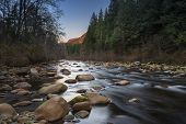 picture of upstream  - Upstream view of a shallow Seymour River with a long exposure on the water - JPG