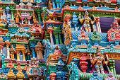 MADURAI, INDIA - FEBRUARY 16, 2013: Vintage retro hipster style image of Sculptures on Hindu temple