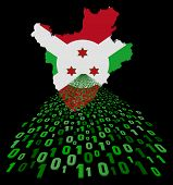 foto of burundi  - Burundi map flag with binary foreground illustration - JPG