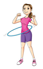 picture of hulahoop  - Cartoon illustration of a woman exercising with hula hoop - JPG