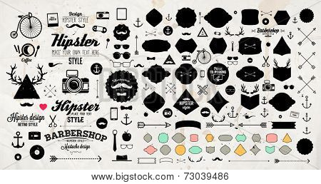 Set of Vintage Hipster Labels, Anchors, Arrows, Deer Antlers, Ribbons, Frames and Icons. Vector Retr poster