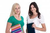 Two teenage girls like students - isolated woman.