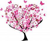 Постер, плакат: Цветочные сердца дерево