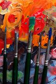 Paint Brushes And Abstract Painting