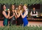 Sexy friends posing in front of barkeeper against green fir branches