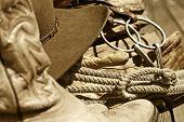 Cowboy Hat, Rope, Bit & Boots (sepia)