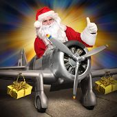 Santa Claus with his cargo plane. Speedy transport christmas gifts for all.