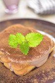 Chocolate tiramisu on a plate
