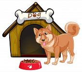 Illustration of a dog and a doghouse