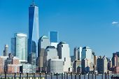 foto of freedom tower  - New York City Manhattan skyline with One World Trade Center Tower  - JPG