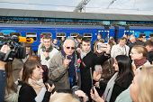 MOSCOW, RUSSIA, SEPTEMBER, 23: N. Mikhalkov.Train VGIK 95 (Gerasimov Institute of Cinematography) Tour. September, 23, 2014 at Yaroslavsky railway station in Moscow, Russia