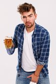 Alcohol, problems. Young alcoholic with beer