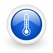 thermometer blue glossy icon on white background