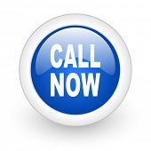 call now blue glossy icon on white background
