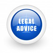 legal advice blue glossy icon on white background