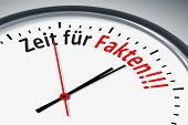 An image of a typical clock with text time for facts in german language