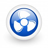 fan blue glossy icon on white background