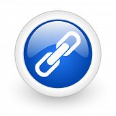 link blue glossy icon on white background