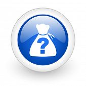 riddle blue glossy icon on white background