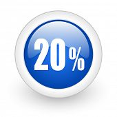 20 percent blue glossy icon on white background