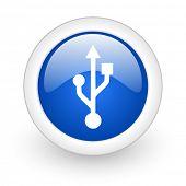 usb blue glossy icon on white background