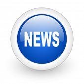 news blue glossy icon on white background