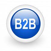b2b blue glossy icon on white background